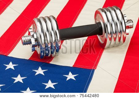 Dumbbell Over Us Flag As Symbol Of Healthy Nation