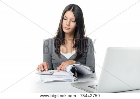 Young Woman Checking A Report Or Invoices