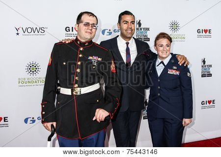 NEW YORK, NY - NOVEMBER 05: (L-R) Steven Schulz, J.W. Cortes and Amanda Martino attend 2014 Stand Up For Heroes at Madison Square Garden on November 5, 2014 in New York City