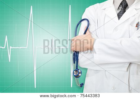 Doctor With Stethoscope In Hand And Electrocardiogram On Green Background