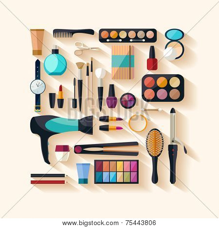 Tools for makeup. Flat design.