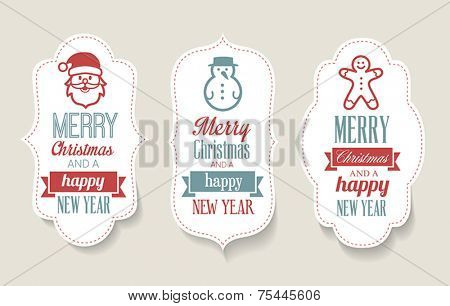 Cute Christmas labels - decorations for web or print.