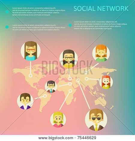 Social Media Circles, Network Illustration, Vector