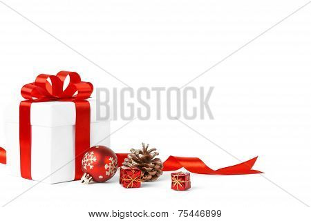 Colorful Red Gifts With Christmas Balls