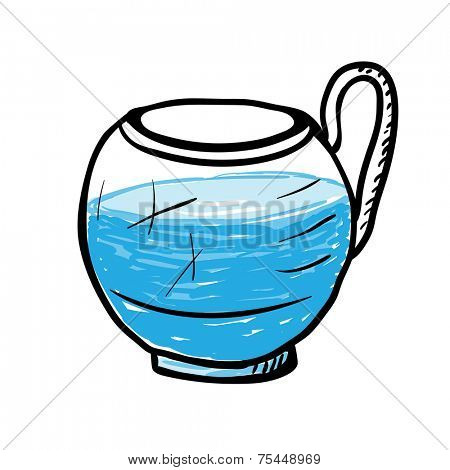 Glass cup with water, vector sketch illustration.