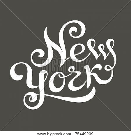 New York hand lettering for t-shirt or greeting card print template. Vector illustration
