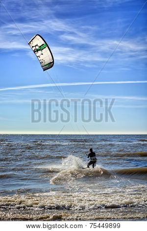 Le Touquet, France - May 22nd, 2010: Kite surfer on the North Sea at Paris-Plage.