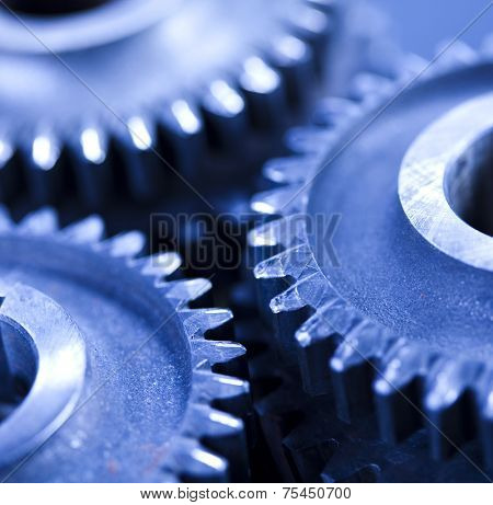 Closeup of gears, industrial mechanism