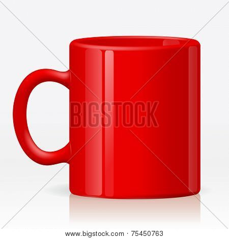 Isolated empty ceramic red cup on white background