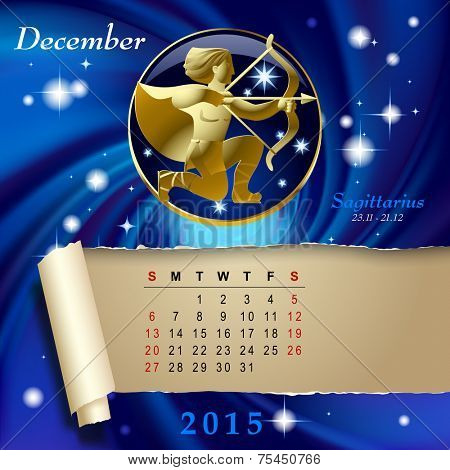 Simple monthly page of 2015 Calendar with gold zodiacal sign against the blue star space background. Design of December month page with Sagittarius figure. Vector illustration Vector illustration