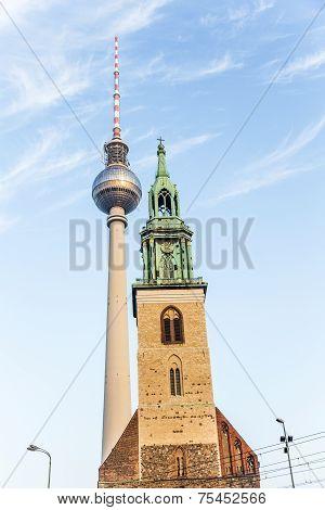 Fernsegtower Alex In Berlin With St. Marys Church