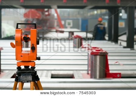 Optical Level At Factory Among The Equipment, Nobody