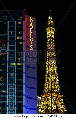 Bally's And Paris Las Vegas Hotel And Casino At The Strip