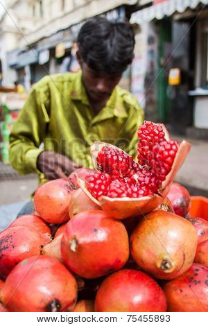 Indian Pomegranate Vendor
