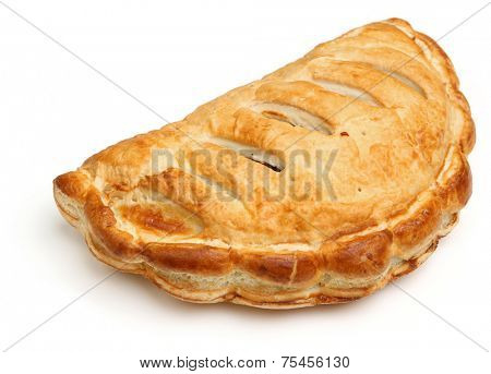 Cornish pasty on white background.