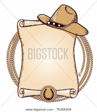 Cowboy Hat And Lasso.vector American Illustration