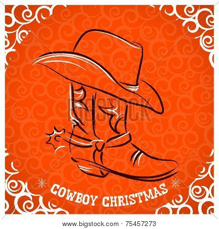 Western New Year With Cowboy Boot And Western Hat