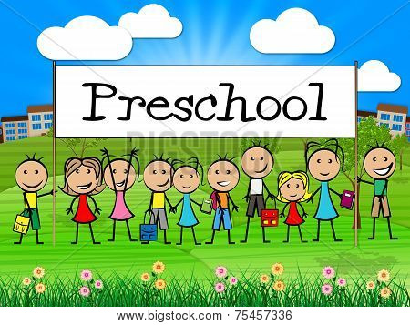 Preschool Kids Banner Represents Childrens Toddlers And Childhood