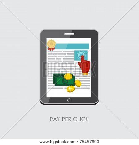 Pay Per Click Flat Concept for Web Marketing. Vector Illustration
