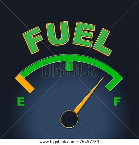 Fuel Gauge Represents Power Source And Dial