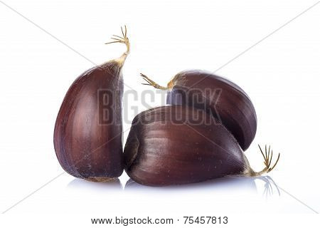 Chestnuts Isolated On A White Background