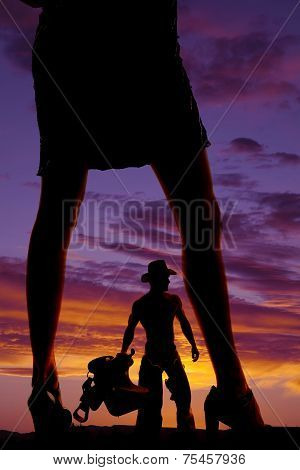 Silhouette Of Woman Legs In Skirt And Heels