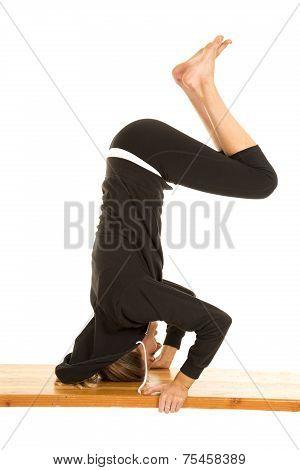 Woman Fitness Black Jacket Head Stand Legs Down