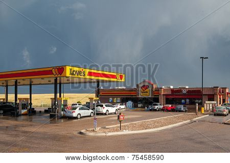 Typical Americal Petrol Station Near The Denver Before Heavy Storm.