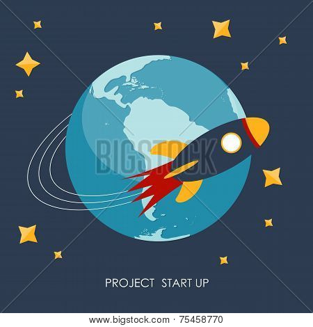 Quick Start Up Flat Concept Vector Illustration