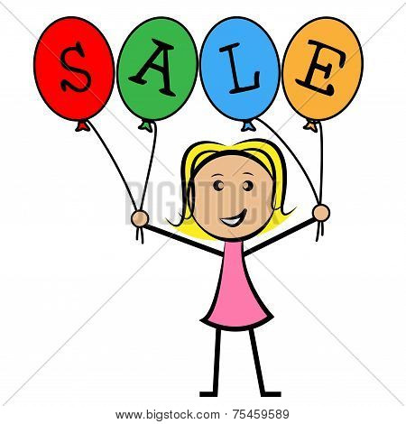 Sale Balloons Shows Young Woman And Kids