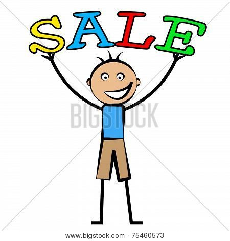 Boys Sale Represents Childhood Male And Promo