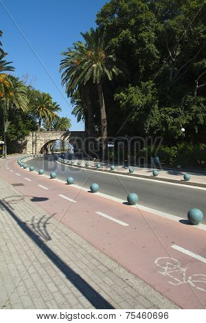 Famous Lane And Bridge In Kos City; Greece