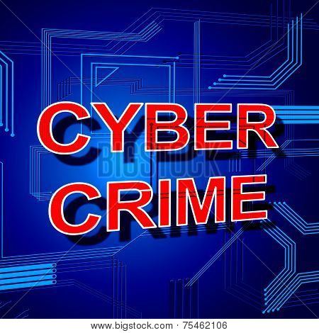 Cyber Crime Sign Shows Theft Spyware And Security