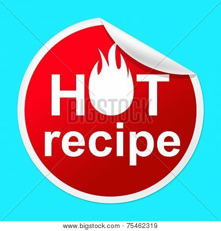 Hot Recipe Sticker Means Prepare Food And Book