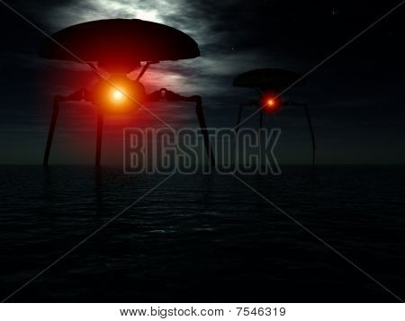 Alien Tripods In Ocean
