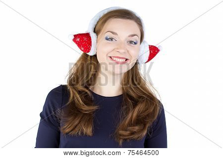 Image of happy young woman in winter headphones