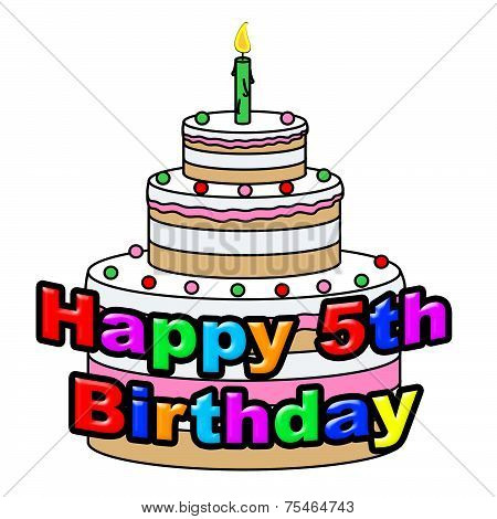 Happy Fifth Birthday Represents Congratulations Celebrate And Congratulating