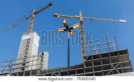 Two Cranes Near Construction