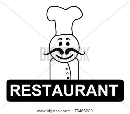 Restaurant Chef Indicates Cooking In Kitchen And Chefs