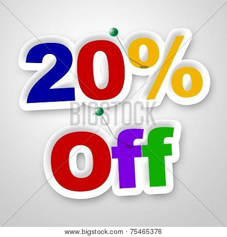 Twenty Percent Off Indicates Reduction Savings And Save
