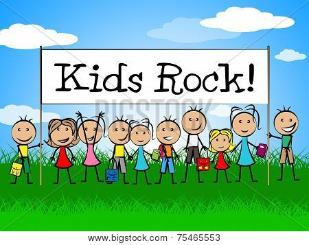 Kids Rock Banner Shows Free Time And Child