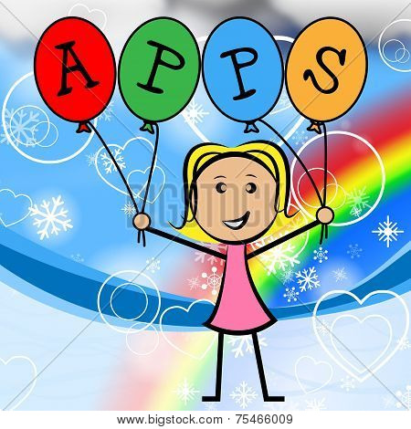 Apps Balloons Represents Young Woman And Kids