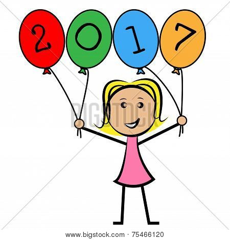 Twenty Seventeen Balloons Means New Year And Annual