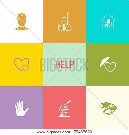 Medical set. Flat color vector icons.