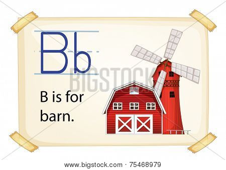 Literacy card showing the letter B with example object and sentence