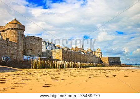 Saint Malo Beach, City Walls And Houses. Low Tide. Brittany, France.
