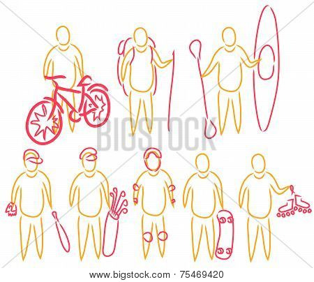 vector illustration set of active summer activity line drawn simple