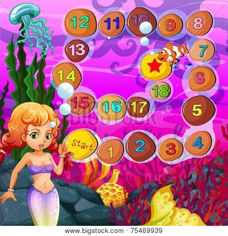 Mermaid boardgame with underwater theme