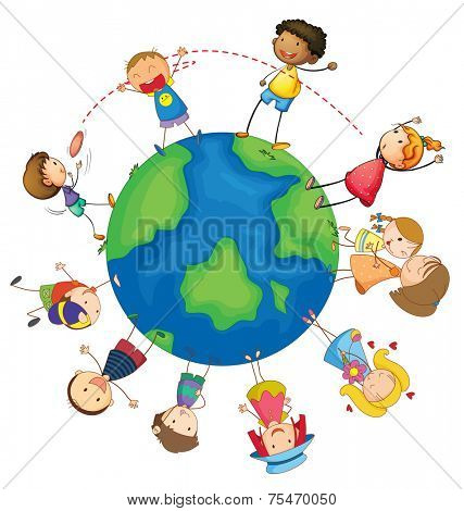 Kids playing around the Earth