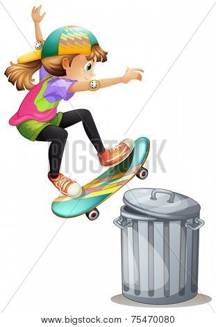 Skate over a trash can